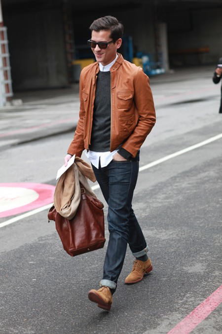 men's light brown leather jacket
