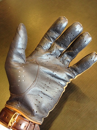 Fratelli Orsini tan and brown touchscreen driving gloves
